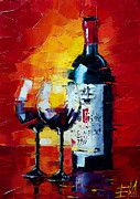 French Wine Bottles Painting Posters - Conviviality Poster by EMONA Art