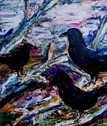 Crows Paintings - Convocation of Crows by Leslie Love