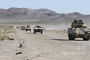 Featured Acrylic Prints - Convoy Of Military Vehicles Traveling Acrylic Print by Stocktrek Images