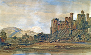 North Conway Framed Prints - Conway Castle Framed Print by Peter de Wint