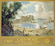Landscapes Drawings Metal Prints - Conway Castle Metal Print by Sir David Murray