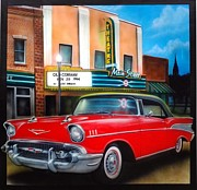 57 Chevy Painting Framed Prints - Conway main street theatre Framed Print by Amatzia Baruchi