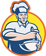 Chef Hat Framed Prints - Cook Chef Baker With Mixing Bowl Retro Framed Print by Aloysius Patrimonio