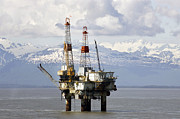 Oi Prints - Cook Inlet Oil Rig Print by Mark Stadsklev