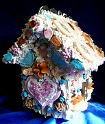 Cookie Sculpture Prints - Cookie Birdhouse Sculpture Print by Kathleen Luther