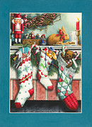 Stockings Painting Prints - Cookies For Santa Print by Lynn Bywaters
