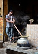 Cooking Breakfast Early Morning Lahore Pakistan Print by Imran Ahmed