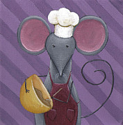 Grey Painting Posters - Cooking Mouse Kitchen Art Poster by Christy Beckwith