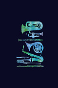 Trumpets Paintings - Cool Blue Band by Jenny Armitage