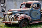 Pickup Prints - Cool Blue Chevy Print by Steven Bateson