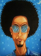 Afros Framed Prints - Cool Blue Night- Urban hip-hop figurative art Framed Print by Millian Glenn