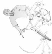 Bicycle Drawings - Cool BMX drawing by Mike Jory