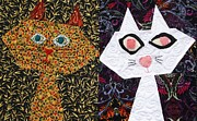 Quilt Posters - Cool Cats Quilt Poster by Gerald Strine