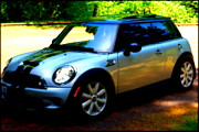 Mini Cooper Digital Art Posters - Cool Cooper Sport Poster by Kathy Sampson
