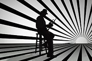 Music Metal Prints - Cool Jazz 2 Metal Print by Bedros Awak