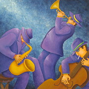 Bass Player Prints - Cool Jazz Trio Print by Pamela Allegretto