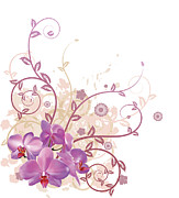 Copy Space Mixed Media Prints - Cool orchid floral background Print by Christos Georghiou