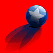 Robin Muirhead Art - Cool Red Base White Star Blue Ball by Robin B E Muirhead Esq