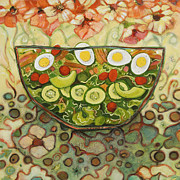 Painted Food Prints - Cool Summer Salad Print by Jen Norton