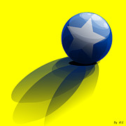 Robin Muirhead Art - Cool Yellow Base White Star Blue Ball by Robin B E Muirhead Esq