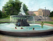 Philadelphia Painting Prints - Cooling Off at the Philadelphia Museum of Art Print by Erin Rickelton