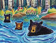 Wildlife Landscape Paintings - Cooling Off by Harriet Peck Taylor
