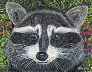 Raccoon Painting Framed Prints - Cooney Bear Framed Print by Sandra Wilson