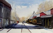 Yards Painting Framed Prints - Coopersville Rail Yard Framed Print by Sandra Strohschein