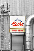 Selective Coloring Art Prints - Coors Barley Elevator BW Color Print by James Bo Insogna