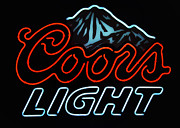 New Melle Prints - Coors Light Sign Print by Linda Tiepelman