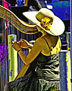 Musicans Framed Prints - Coos Bay Harp Lady Framed Print by Joseph Coulombe