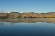 James BO  Insogna - Coot lake Morning Moon Set Reflections