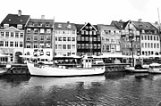 European Cafes Prints - Copenhagen Black and White Print by Jenny Hudson