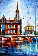 Building Painting Originals - Copenhagen Denmark 3 by Leonid Afremov