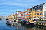 Copenhagen Denmark  Digital Art Prints - Copenhagen Denmark Nyhavn District Print by Eva Kaufman