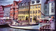 Red Buildings Digital Art Posters - Copenhagen Poster by Jeff Kolker