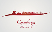 Copenhagen Denmark  Digital Art Prints - Copenhagen skyline in red Print by Pablo Romero
