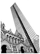 John Hancock Building Drawings Prints - Copley Square Print by Conor Plunkett