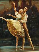 Ballet Dancers Painting Prints - Coppelia Print by Podi Lawrence