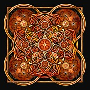 Celtic Spiral Posters - Copper and Gold Celtic Cross Poster by Richard Barnes