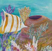 Fish Underwater Paintings - Copper banded butterfly fish by John Garland  Tyson