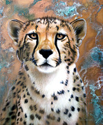 Cheetah Painting Posters - Copper Flash - Cheetah Poster by Sandi Baker