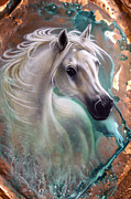 Patina Framed Prints - Copper Grace - Horse Framed Print by Sandi Baker