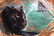 Jaguar Paintings - Copper Jaguar by Sandi Baker