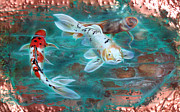 Verdigris Framed Prints - Copper Koi Framed Print by Sandi Baker
