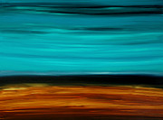 Abstract Landscapes Posters - Copper Lake - Aqua Brown Black Painting Poster by Sharon Cummings