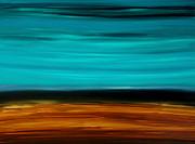 Copper Lake - Aqua Brown Black Painting Print by Sharon Cummings