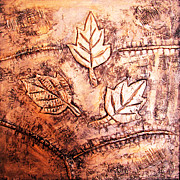 Copper Reliefs Framed Prints - Copper Leaves Embossed Framed Print by Abhishek Das