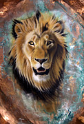 Verdigris Posters - Copper Majesty - Lion Poster by Sandi Baker