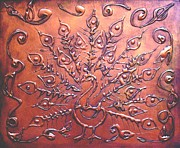 Design Reliefs Prints - Copper Peacock Print by SophiaArt Gallery